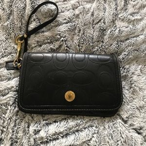 Coach leather embossed wristlet